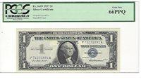 1957 FR-1619 Silver Certificate GEM-NEW P-A block PCGS 66 PPQ