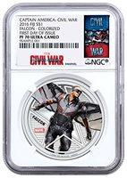 2016 FJ Captain America: Civil War Falcon $1 PF70 NGC