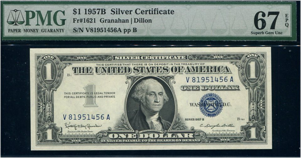 1957 $1 Silver Certificate Star Notes B Block Fr 1619* Uncirculated