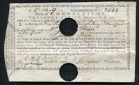 FEB. 1781 5p, 14s, 9p STATE OF CONNECTICUT TREASURY-OFFICE JOSEPH BEERS
