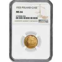 1925 G10Z 10 Zlotych Gold Poland NGC MS66 Gem Uncirculated Mint State Coin