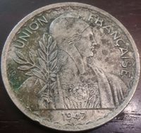 1947 FRENCH INDOCHINA 1 PIASTRE COPPER NICKEL HIGH GRADE COIN COLLECTIBLE ASIA