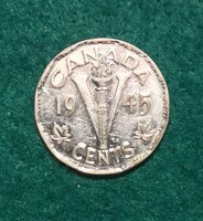 Canada 1945 5 Cents Victory George VI Canadian Nickel. Ships From Canada.