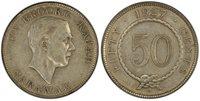 SARAWAK Charles V. Brooke. 1927-H AR 50 Cents. PCGS AU50. Heaton KM 19.