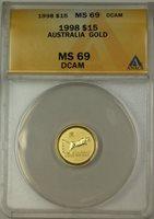 1998 Australia $15 Gold Coin ANACS MS-69 DCAM Deep Cameo
