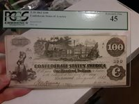 T-39 1862 $100 Confederate Paper Money PCGS XF 40 Choice NOTE Civil War Currency