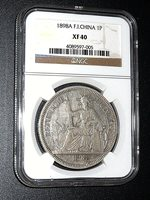 French Indo-china, 1898A, Piastre, Silver, NGC XF-40