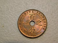 1922 French Indo China One Cent - Gem BU, UNC, RB to Red