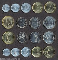 UNC SLOVENIA TOLAR SET 1992-6 coins 10, 20, 50 STOTINOV + 1, 2, 5 TOLARJEV