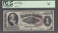 FR.#219 1886 $1 SILVER CERTIFICATE PCGS ABOUT NEW 50.