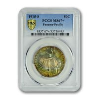 PANAMA PACIFIC 1915-S 50C Silver Commemorative PCGS MS67+