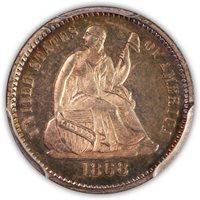 SOLD 1868 H10c PCGS PR64
