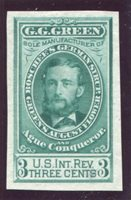 G.G. Green, Boschee's German Syrup. Woodbury, New Jersey. Scott RS92TC1g 1862-83 3c green trial color die proof on india, stamp size, VF thin spot