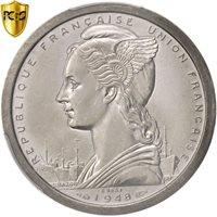 French Somaliland, 2 Francs, 1948, Paris, PCGS, SP63, Piedfort, Aluminum, KM:PE2