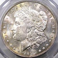 1897 $1 PCGS MS63 MORGAN DOLLAR ~ BEAUTIFUL DEEP PROOFLIKE REVERSE!