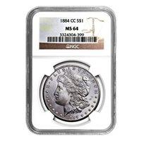 1884-CC Morgan Dollar MS64 NGC