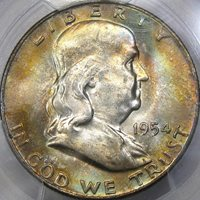 1954-D 50C PCGS MS65 BEAUTIFUL PASTEL RAINBOW FRANKLIN HALF DOLLAR!