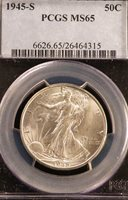 1945-S MS65 PCGS WALKING LIBERTY HALF DOLLAR BLAST WHITE