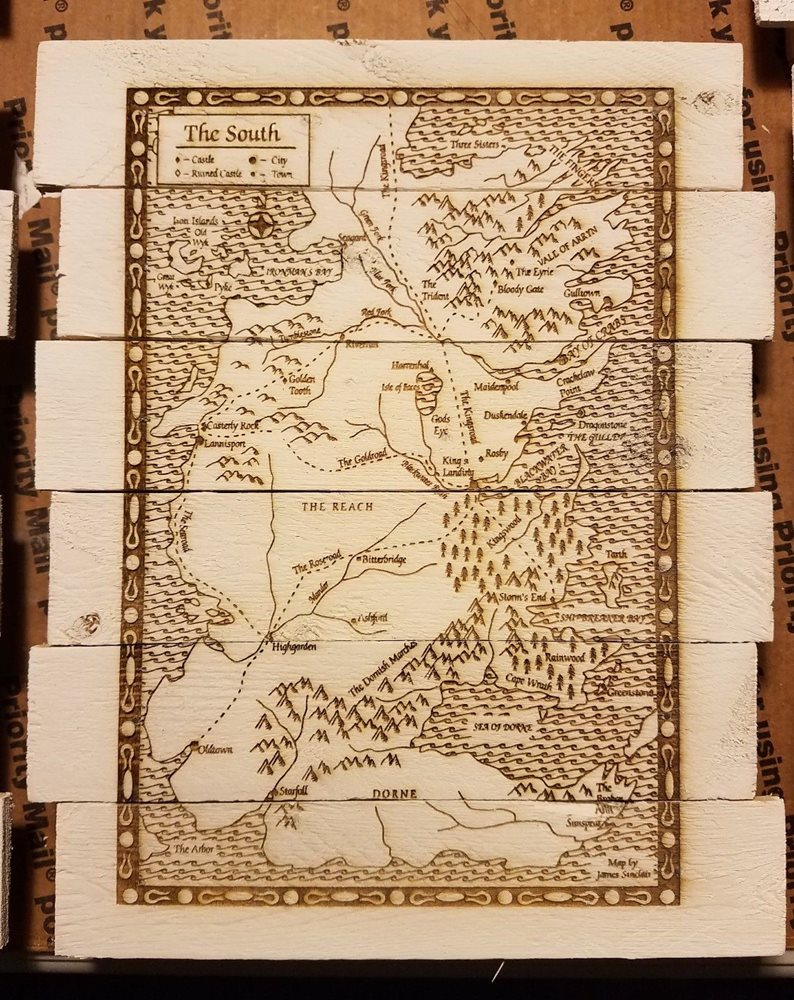Game Of Thrones Map 2 Piece Custom Wood Sign Poster Set