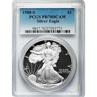 1988-S 1 oz Proof Silver American Eagles PCGS PR70 DCAM
