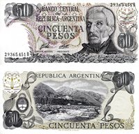 """Argentina 50 Peso Pick #: 301a 1976-78 UNC Black/Cream General San Martin; Hot Springs at Jujuy; Coat of armsNote 6"""" x 3"""" South America Coat of Arms"""