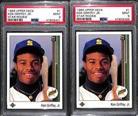 Lot of (2) 1989 Upper Deck Ken Griffey Jr. #1 Rookie Cards - Both Graded PSA 9 Mint