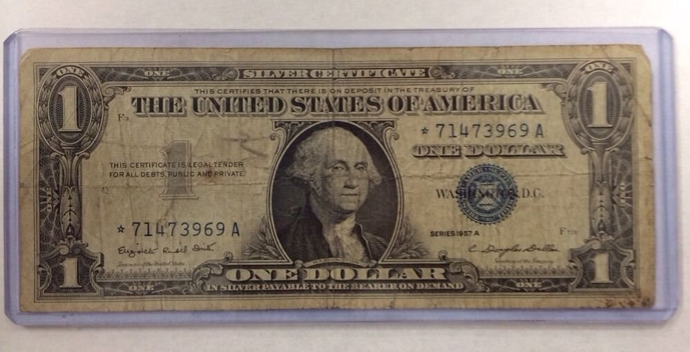 1957a Star Note 1 One Dollar Bill Silver Certificate N