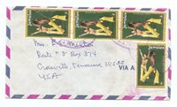 AIR MAIL COVER -JAMAICA to Mrs. L. E. MINTON, CROSSVILLE, TENNESSEE