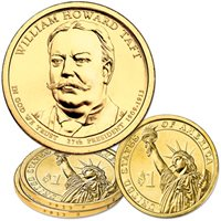 2013 P/&D  William Taft Uncirculated Presidential Dollar Coin Rolls