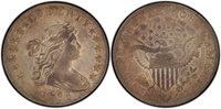 1798 $1 Pointed 9, 4 Vertical Lines B-23a, BB-105 Wide Date Draped Bust Dollar PCGS AU55