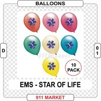 EMS Balloons 10 Pack EMT Paramedic Patch Badge Gift Rescue Medical RN Nurse D 01