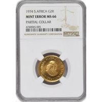 1974 G2R South African 2 Rand Gold NGC MS66 Mint Error Partial Collar Strike