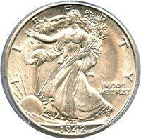 1942 D Walking Liberty Halves Half Dollar MS64 PCGS