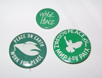 """PEACE CAUSE, Buttons, """"DOVES"""" THREE BUTTONS, UNION Made, 1970's 80's ORIGINAL"""