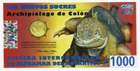 Galapagos Islands 2009 UNC POLYMER BANKNOTE 1000 SUCRES