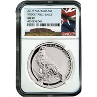2017 1 oz Silver Australian Wedge Tail Eagle Coins NGC MS69 ER