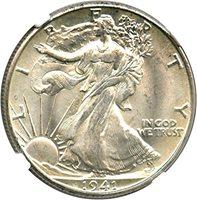 1941 D Walking Liberty Halves Half Dollar MS66 NGC