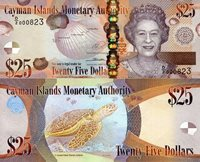 """Cayman Islands 25 Dollar Pick #: 41b 2014 (2018) UNCOther Caribbean Islands Currency - Prefix D/2 Brown Queen Elizabeth II: Shells; TurtleNote 6 1/4"""" x 2 1/2"""" North and Central America Turtle"""