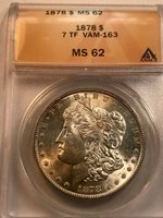 1878 7tf Morgan Dollar Vam 163 Shifted U ANACS Ms62 Scarce In Uncirculated Grade
