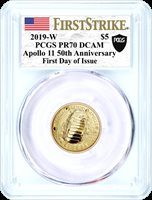 2019 W $5 Gold Apollo 11 50th Anniversary PCGS PR70 DCAM First Strike First Day of Issue Moon Black Shield Label