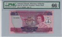 10 Dollars Solomon Islands P 7b Nd1977 Pmg 66 Epq