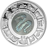 2013 Fiji $10 SNAKE OPAL /& Onyx Chinese Lunar Year of the snake 1oz Silver Coin