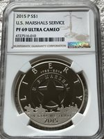 2015 P US Marshals Services Proof $1 Silver  EARLY RELEASE ~ NGC PF69  UCAM ER