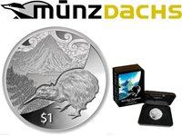 $1 Dollar Kiwi Treasures Mitre Peak New Zealand Proof 1 oz .999 fine silver 2014