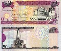 "Dominican Republic 50 Pesos Pick #: 176a 2006 UNCOther Caribbean Islands Currency Purple/Pink Cathedral - Santa Maria la Menor; Basilica de Nuestra Senora de la AltagraciaNote 6 1/4"" x 2 1/2"" North and Central America Duarte"