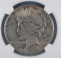 1934-S S$1 Peace Dollar NGC AU 53 MS