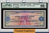 100 Rupees Nd (1970s) State Bank Of India Travellers Cheque Specimen Pmg 66q!
