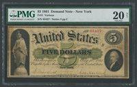 FR1 $5 1861 1ST DEMAND NOTE N.Y. PMG 20 APP MINOR REPAIRS CV $6,250 WLM6367A