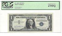 1957-B FR-1621 Silver Certificate U-A block PCGS 67 PPQ Superb Gem New