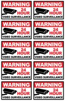 """10 PACK 3x5"""" Decal Sticker Security Sign - WARNING 24 HOUR VIDEO SURVEILLANCE"""